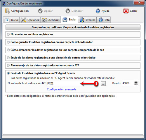 Envío de los datos registrados a PC Agent Server